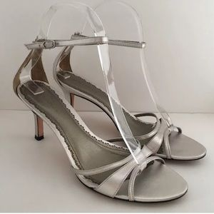 Ann Taylor Silver Leather Slingback Ankle Heels